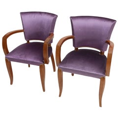 Art Deco Armchairs with Purple Velvet Upholstery