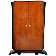 Art Deco Armoire, Amboyna Veneer and Black Lacquer, France, circa 1930