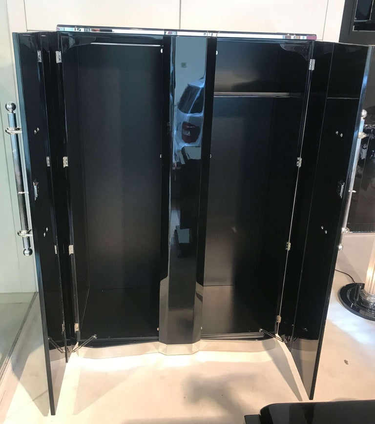 Mid-20th Century Art Deco Armoire, Black Lacquer and Chrome, France, circa 1930 For Sale