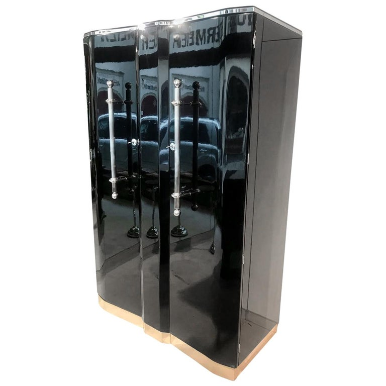 Art Deco Armoire, Black Lacquer and Chrome, France, circa 1930 For Sale