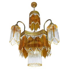 Art Deco & Art Nouveau Amber & Clear Beaded Crystal Glass Fringe Gilt Chandelier