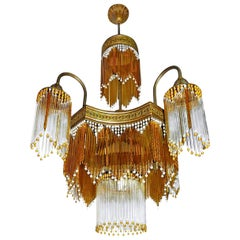 Italian  Murano Art Deco Art Nouveau Amber Beaded Crystal Fringe Gilt Chandelier