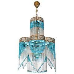 Art Deco Art Nouveau Blue Beads Glass Fringe Hollywood Regency Gilt Chandelier