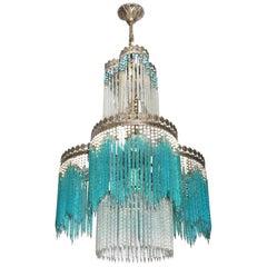 Hollywood Regency Jugendstil/Art Nouveau blaue Kristallglas perlenbesetzter Rand Kronleuchter