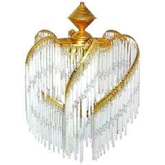 Art Deco & Art Nouveau Crystal Glass Fringe Hollywood Regency Gilt Chandelier