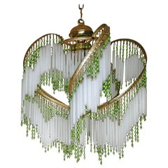 Art Deco & Art Nouveau Crystal Glass Fringe Hollywood Regency Gilt Chandelier