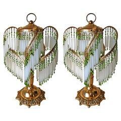 Art Deco and Art Nouveau Crystal Glass Fringe Hollywood Regency Gilt Table Lamps