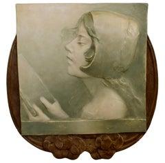 Art Deco Art Nouveau Ernst Wahliss Metal Relief Plate Austria Profile Portrait