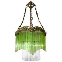 Art Deco & Art Nouveau Green and Clear Glass Fringe and Gilt Bronze Chandelier