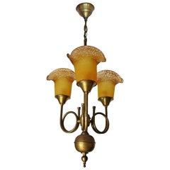 Art Deco Art Nouveau Hunting Horn Amber Art Glass Pâte De Verre Brass Chandelier