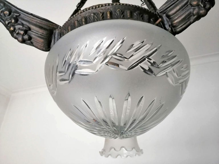 Art Deco & Art Nouveau in Degué Style Cut Glass 4-Light Chandelier, circa 1920 For Sale 1