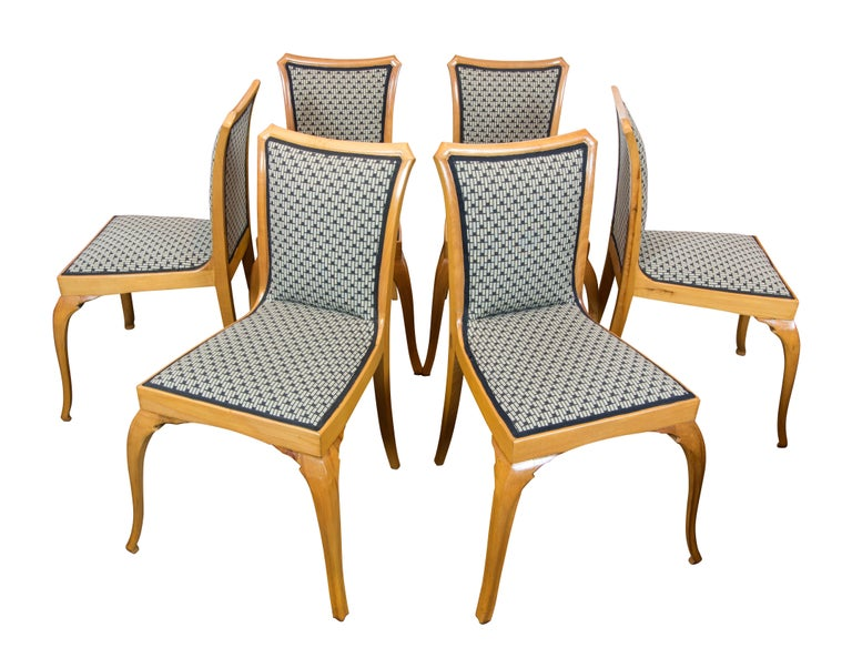 Polished Art Deco / Art Nouveau Pearwood Dinning Set: Table and Set of Six Chairs For Sale