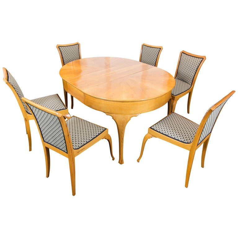 Art Deco / Art Nouveau Pearwood Dinning Set: Table and Set of Six Chairs For Sale