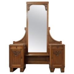 Art Deco Art Nouveau Psyche Full Length Mirror Dressing Table Red Marble Top