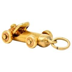 Art Deco Articulated 14 Karat Gold Soapbox Derby Charm