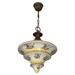 Art Deco Asian Style / Chinoiserie Pendant with Pagoda Graphics and Brass Canopy