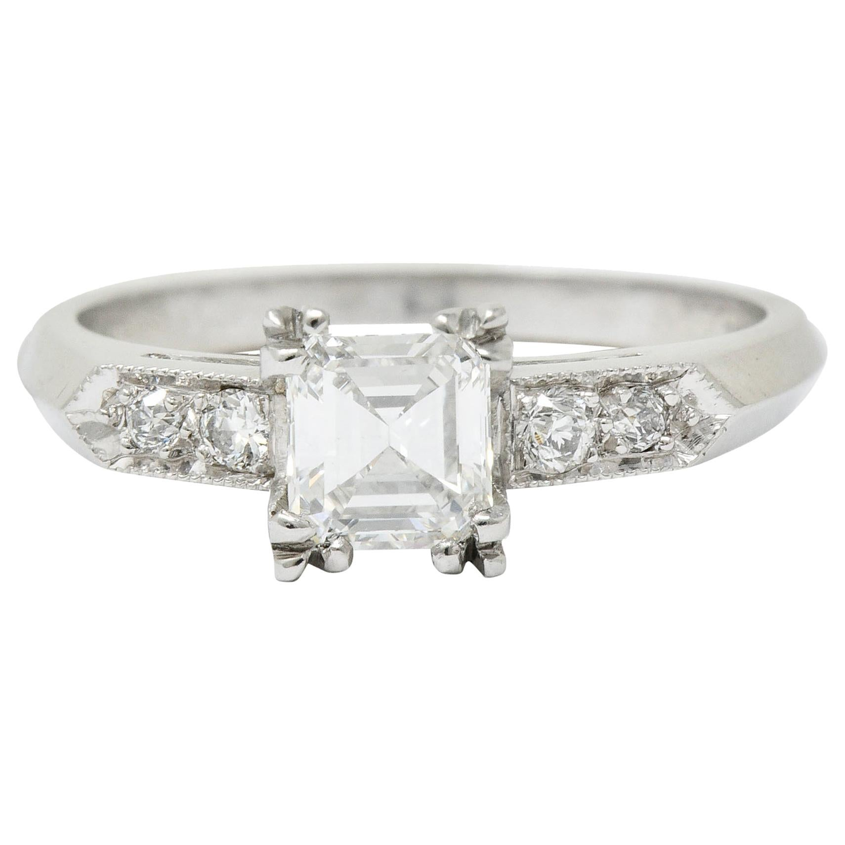 Art Deco Asscher Cut Diamond Platinum Engagement Ring GIA