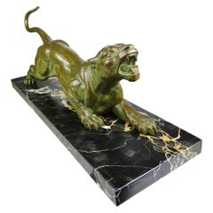 Art Deco 'Attacking Panther' Large Authentic Sculpture by D.H.Chiparus, 1920