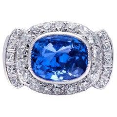 Art Deco, Austrian, 5ct Sapphire and Diamond Cluster Ring