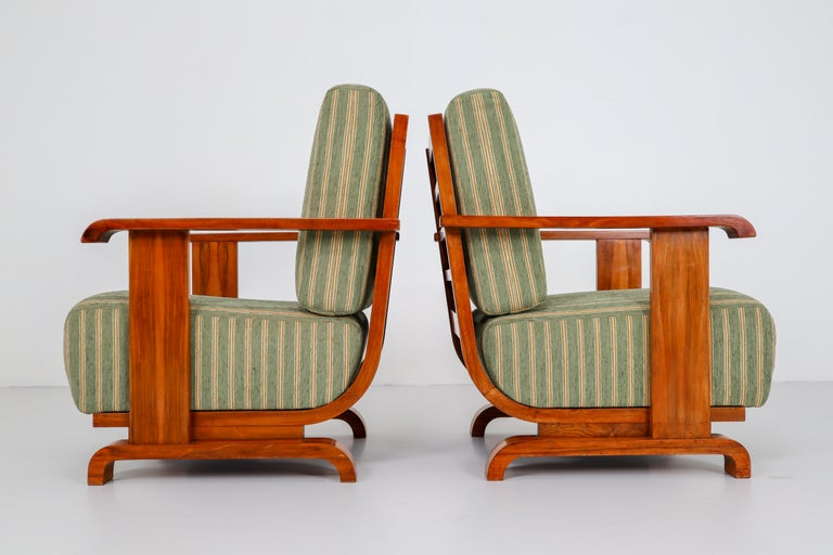Art Deco Austrian Armchairs from Vienna in Walnut and Olive Green Velvet Blend For Sale 6