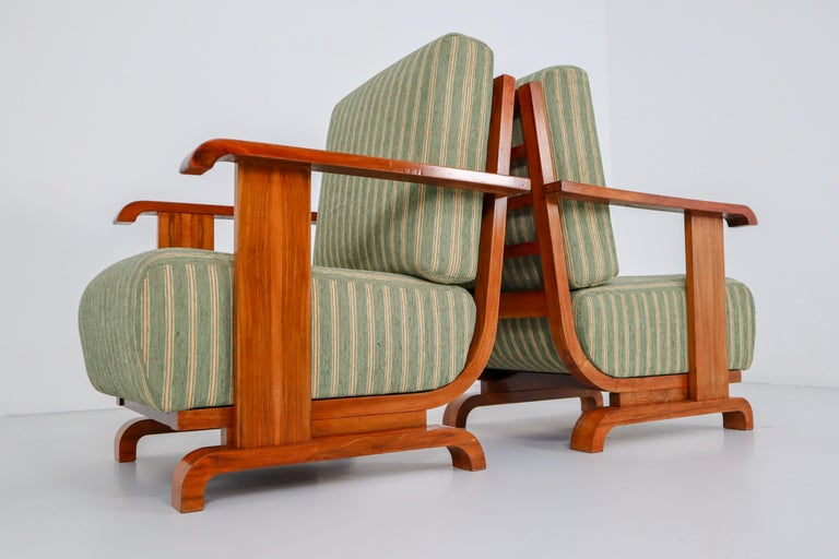 Art Deco Austrian Armchairs from Vienna in Walnut and Olive Green Velvet Blend For Sale 7