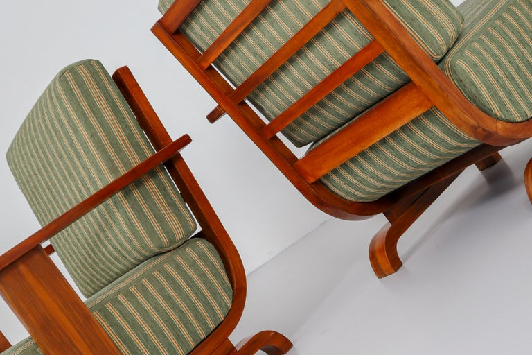 Art Deco Austrian Armchairs from Vienna in Walnut and Olive Green Velvet Blend For Sale 8
