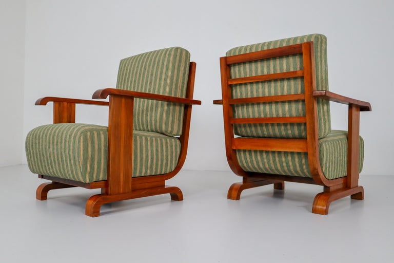 Art Deco Austrian Armchairs from Vienna in Walnut and Olive Green Velvet Blend For Sale 9