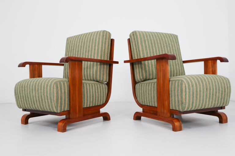 Art Deco Austrian Armchairs from Vienna in Walnut and Olive Green Velvet Blend For Sale 11