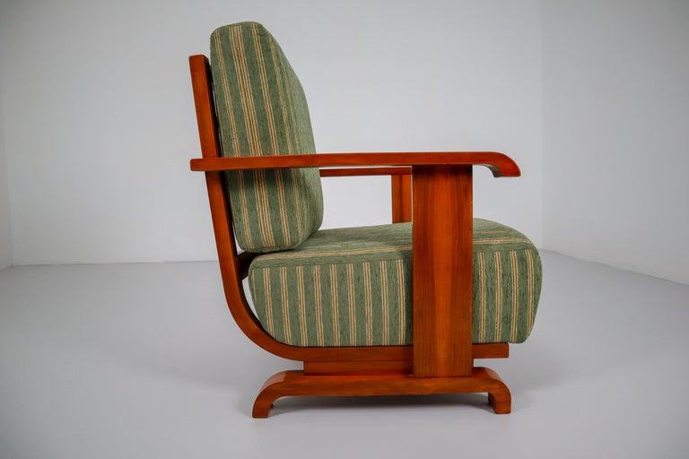Art Deco Austrian Armchairs from Vienna in Walnut and Olive Green Velvet Blend For Sale 1