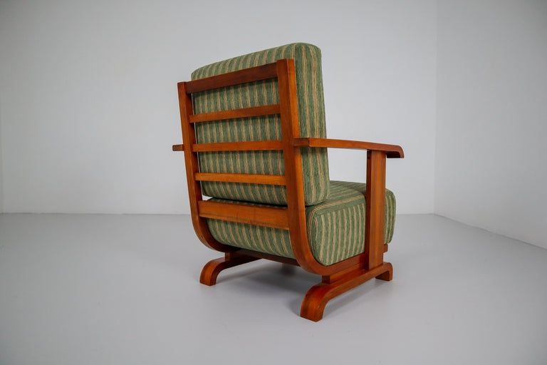 Art Deco Austrian Armchairs from Vienna in Walnut and Olive Green Velvet Blend For Sale 2