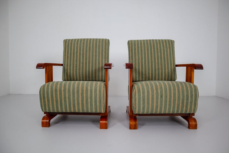Art Deco Austrian Armchairs from Vienna in Walnut and Olive Green Velvet Blend For Sale 4