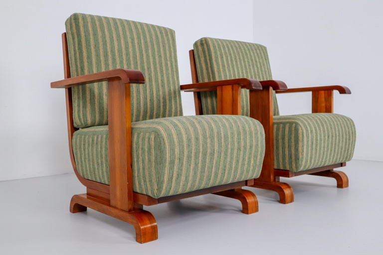Art Deco Austrian Armchairs from Vienna in Walnut and Olive Green Velvet Blend For Sale 5