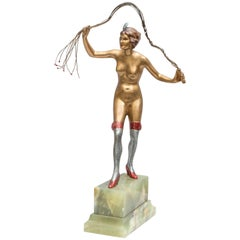 Art Deco Austrian Bronze Figure of a Nude Woman with Cat O' Nine Tails Whip