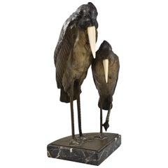 Art Deco Austrian Bronze Storks or Heron on Marble