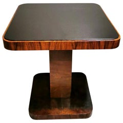 Art Deco Austrian Coffee-Tea Table in Walnut with Black Crystal Top