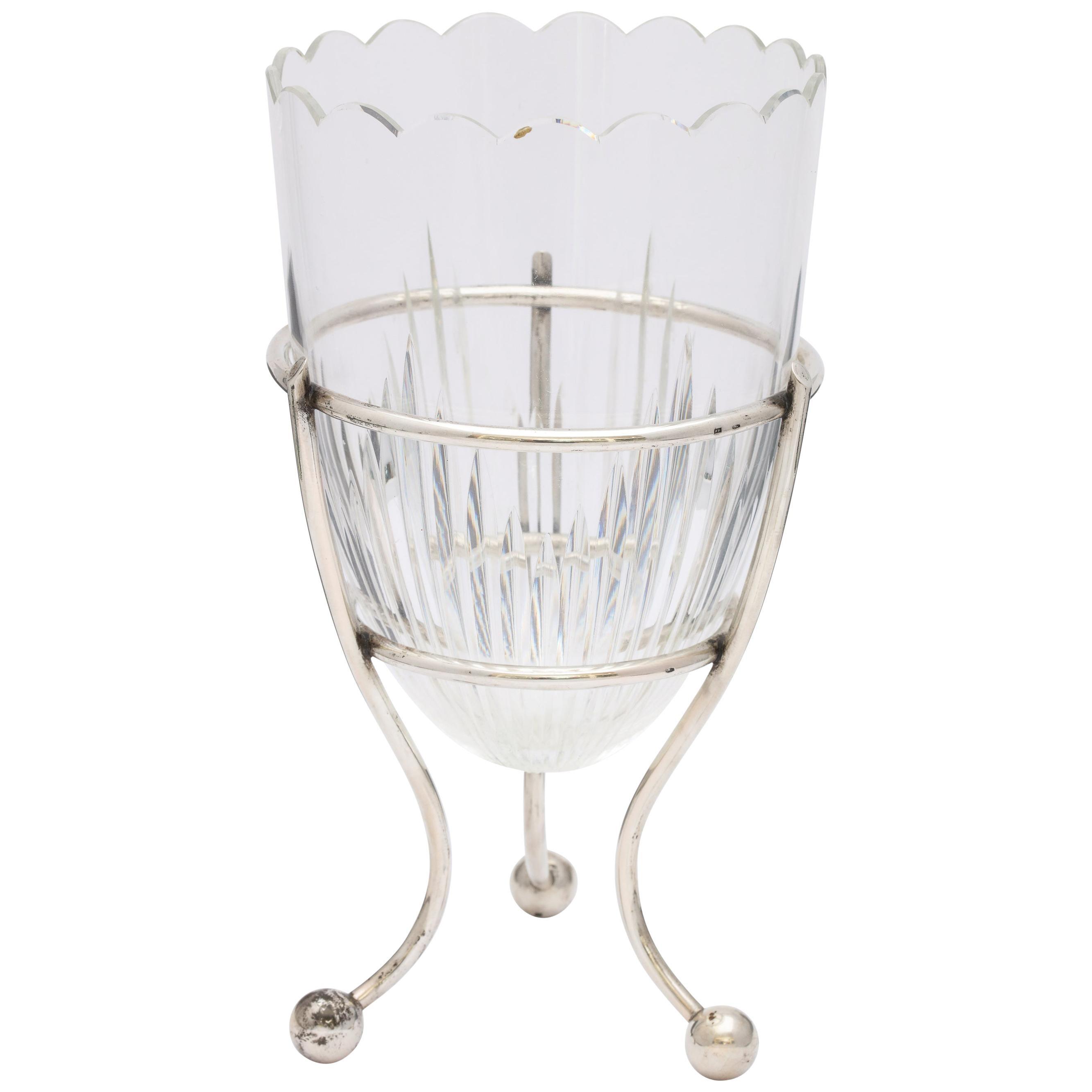 Art Deco Austrian Continental Silver '.835' Mounted Crystal Vase