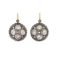 Art Deco Austrian Rose and Mine Cut Diamond Earrings
