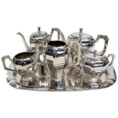 Art Deco Austrian Silver Tea and Coffee Set with Tray
