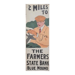 Art Deco Automobilia Farmers State Bank Tin Advertising Sign