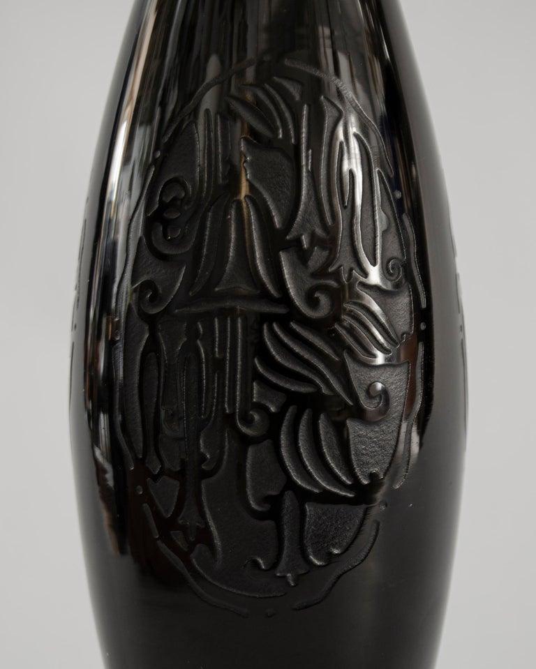 Art deco Baccarat art glass Origin France black color circa 1920 perfect condition.