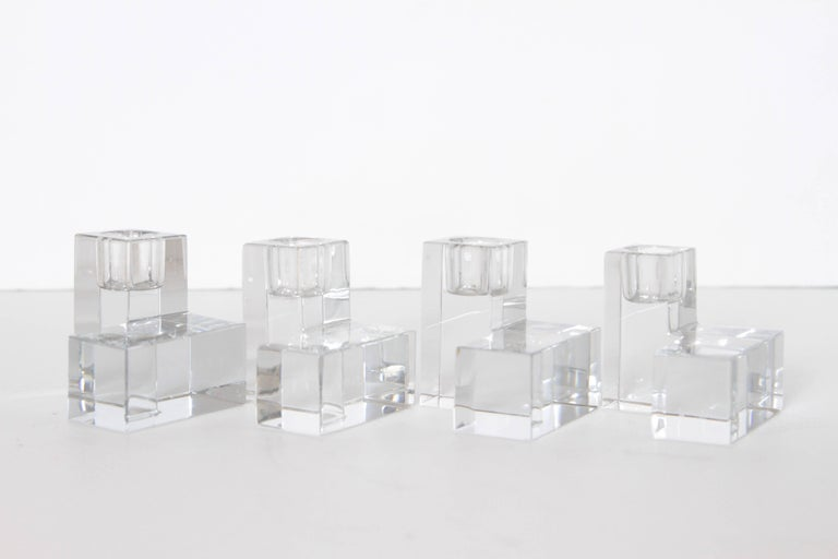 Art Deco Baccarat crystal pristine table architecture cubist candlestick holders  Two pair (four pieces) original precision - geometric designs, multi-adjustable in display. Symmetrical design. Near mint condition, one minute flea-bite to one
