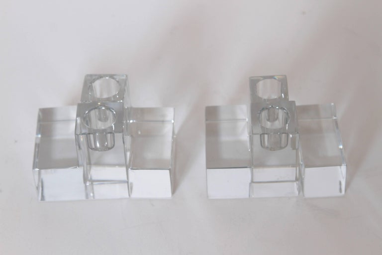Polished Art Deco Baccarat Crystal Pristine Table Architecture Cubist Candlestick Holders For Sale