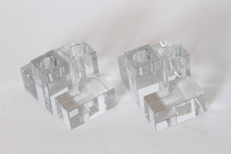 Art Deco Baccarat Crystal Pristine Table Architecture Cubist Candlestick Holders In Excellent Condition For Sale In Dallas, TX