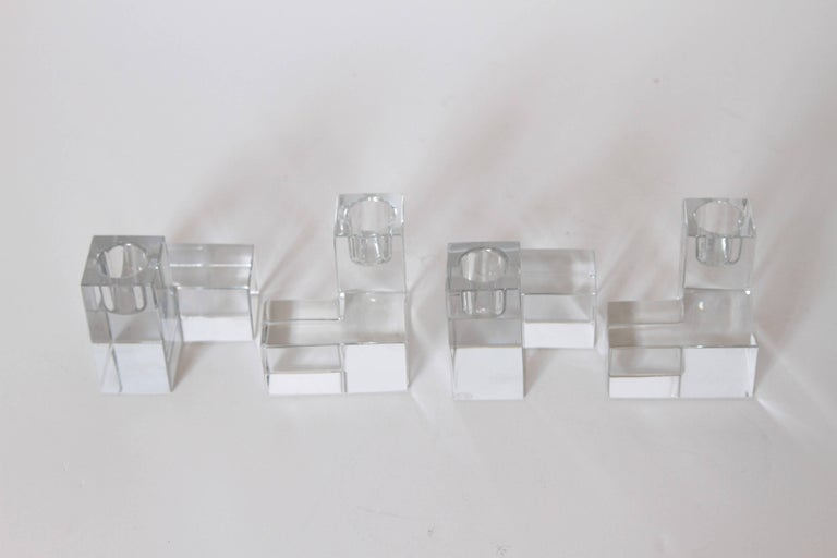 20th Century Art Deco Baccarat Crystal Pristine Table Architecture Cubist Candlestick Holders For Sale