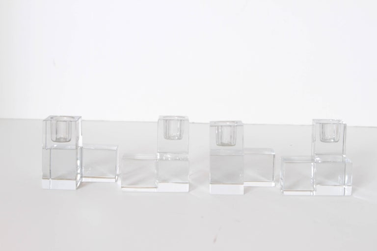 Art Deco Baccarat Crystal Pristine Table Architecture Cubist Candlestick Holders For Sale 2