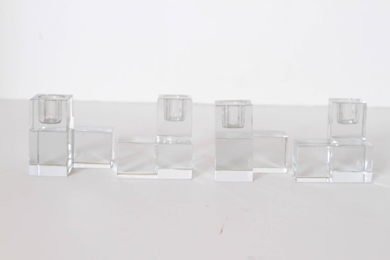 Art Deco Baccarat Crystal Pristine Table Architecture Cubist Candlestick Holders For Sale 3
