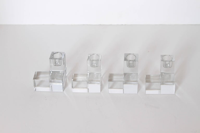 Art Deco Baccarat Crystal Pristine Table Architecture Cubist Candlestick Holders For Sale 4