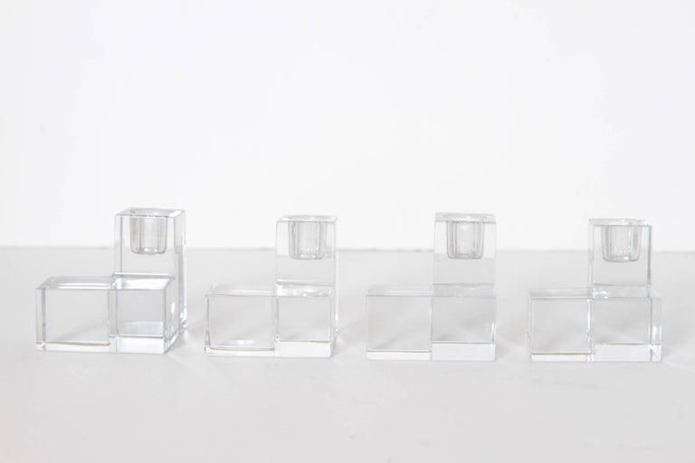 Art Deco Baccarat Crystal Pristine Table Architecture Cubist Candlestick Holders For Sale 5