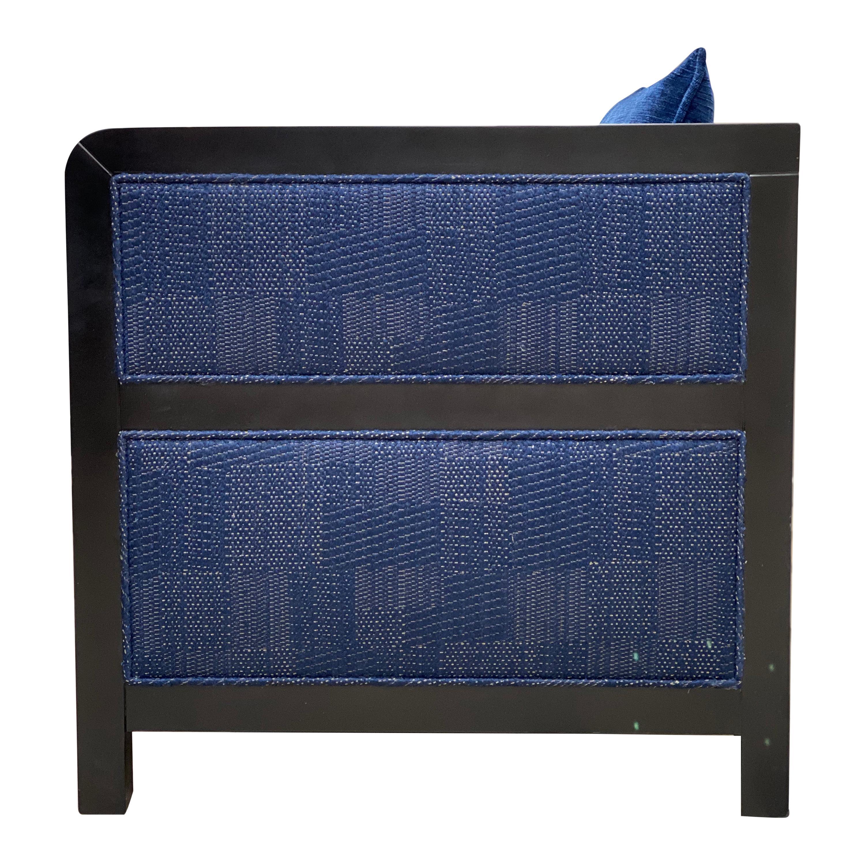 Bacco Deconstructed Armchair in Black Ebony Finish Upholstered w Velvet