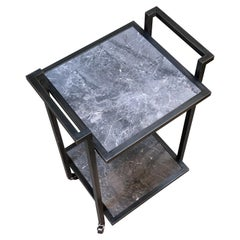 Art Deco Bacco Drinks Trolley in Blackened Steel and Nero Marble
